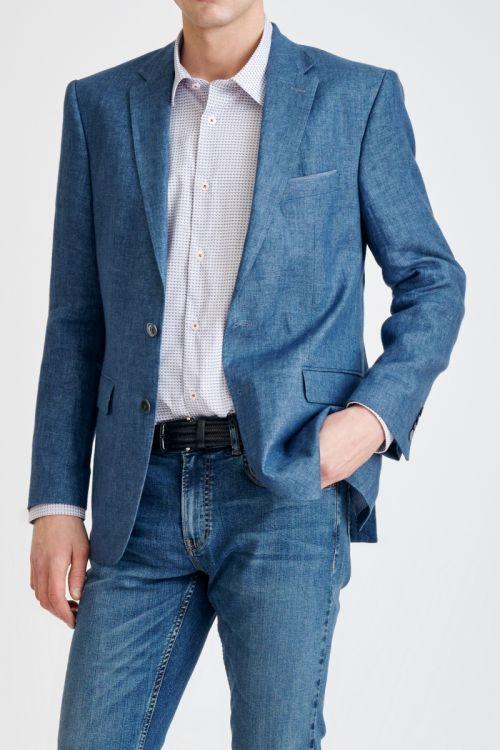 Laneni muški sako svjetlo plave boje - Regular fit
