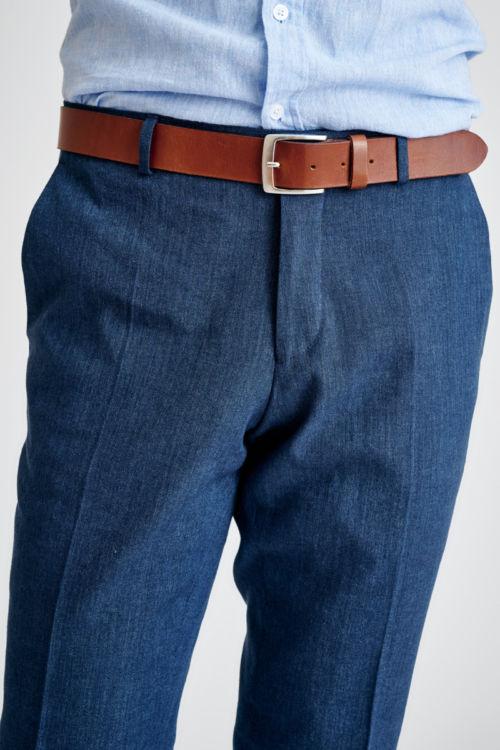 Muške plave hlače s udjelom lana - Regular fit
