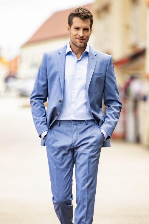 Svjetloplavo odijelo s udjelom vune - Slim fit