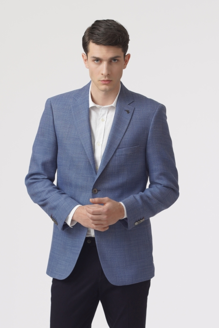 Men's light blue jacket with patern