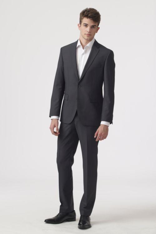 YOUNG Tamno sivo muško odijelo - Regular fit