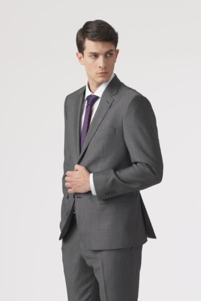 Elegantno sivo odijelo sitne strukture - Regular fit