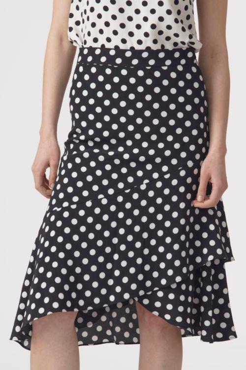 Asimetrična suknja s točkastim printom u dvije boje