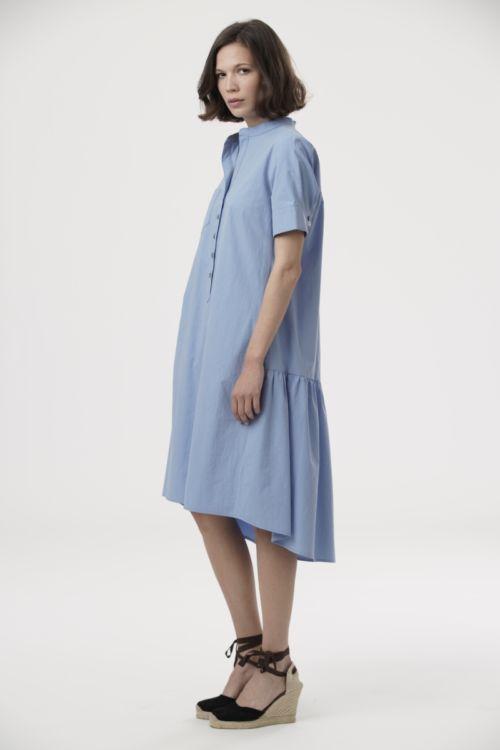 Asimetrična ležerna haljina s džepovima u tri boje