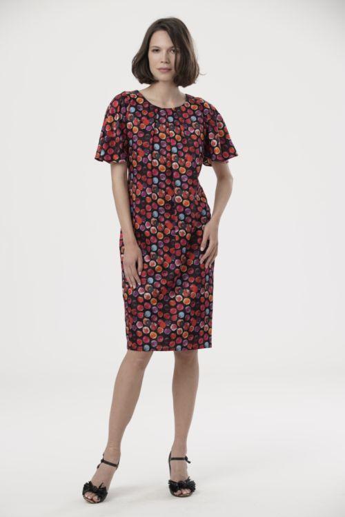 Haljina ravnog kroja šarenog printa s udjelom svile