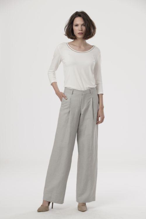 Ženske hlače s udjelom lana u tri nježne boje