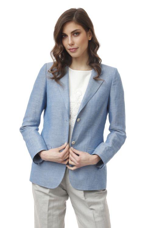 Ženski sako svjetlo plave boje s decentnim printom