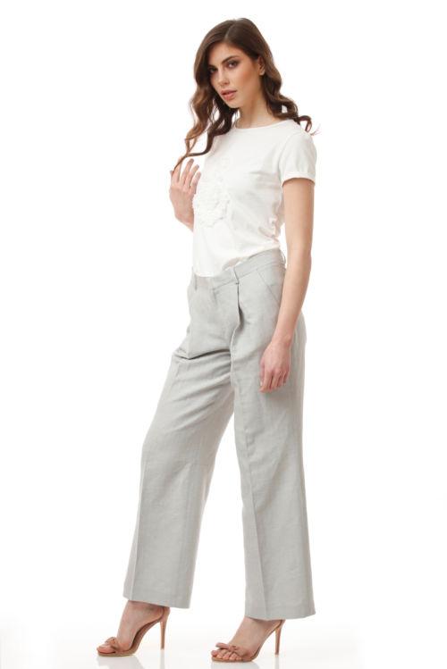 Ženske svjetlo sive hlače sa udjelom lana