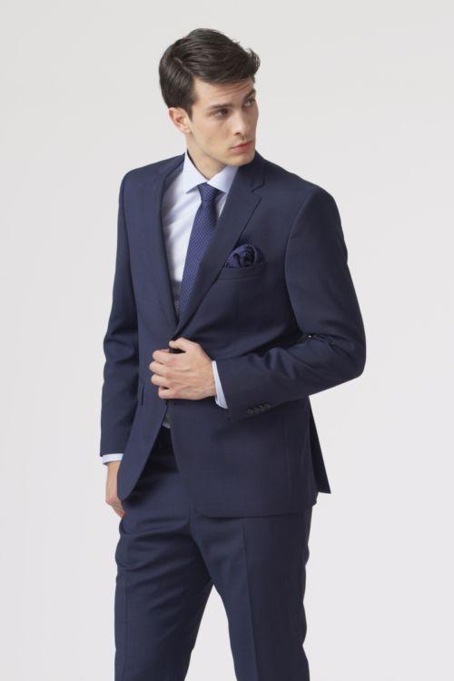 Tamno plavo odijelo s mikro kariranim uzorkom - Regular fit