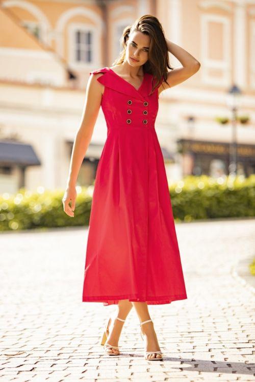 Retro haljina crvene i tamno plave boje