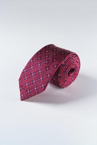 Svilena bordo crvena kravata sa cvjetnim uzorkom