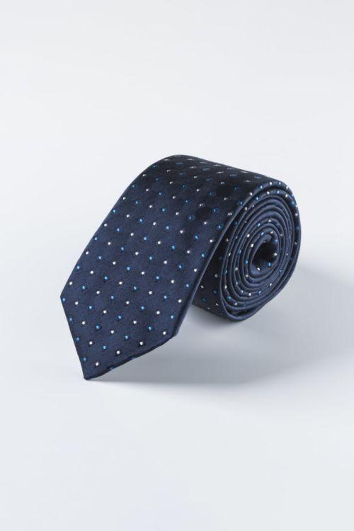 Svilena navy blue kravata s uzorkom