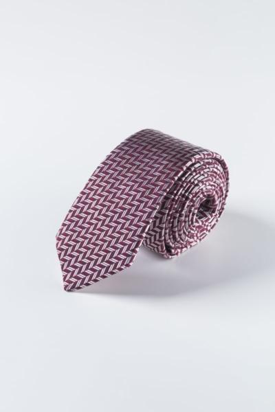 Bordo svilena kravata s uzorkom