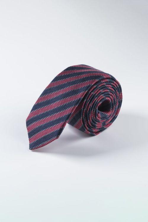 Crno crvena prugasta kravata od svile i lana