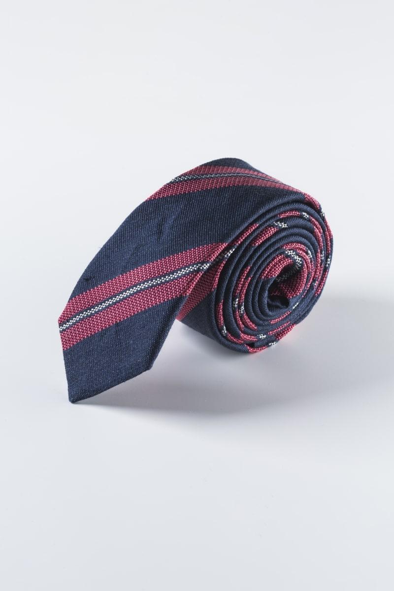 Muška kravata od svile i lana u plavo crvenoj kombinaciji