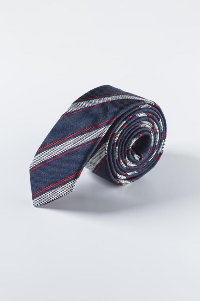 Muška prugasta kravata od svile i lana