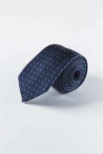 Plava svilena kravata sa sitnim uzorkom