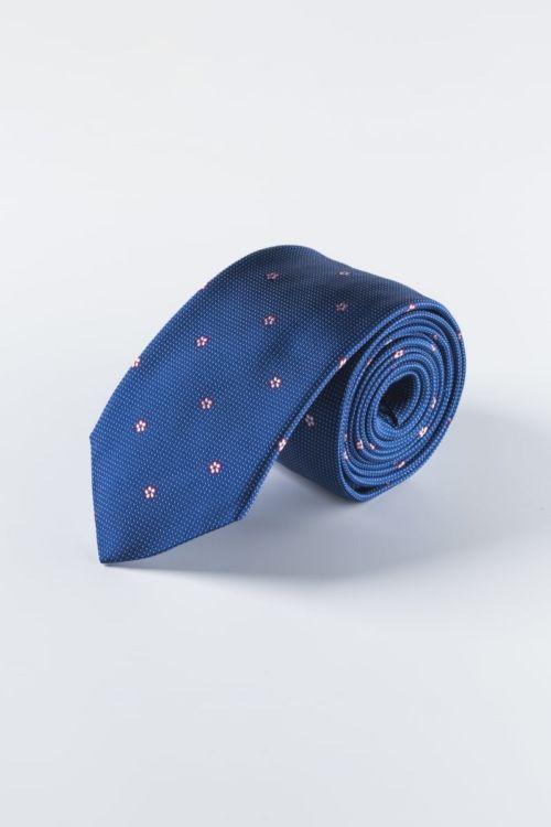Svilena plava kravata sa cvjetnim uzorkom