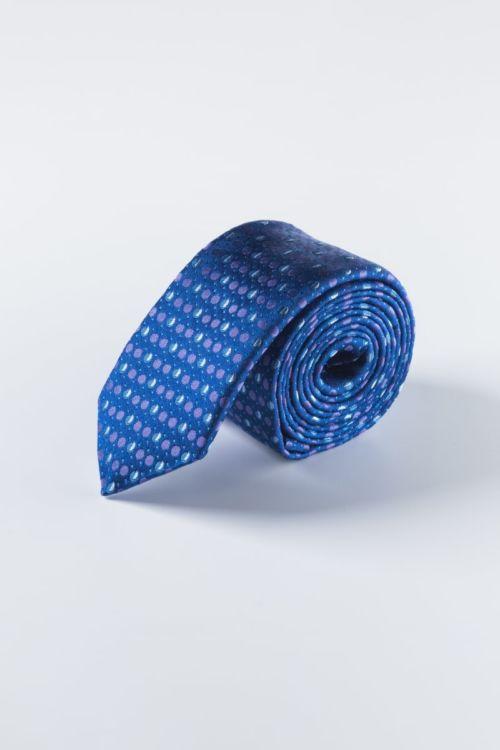 Svilena plava kravata s točkastim uzorkom