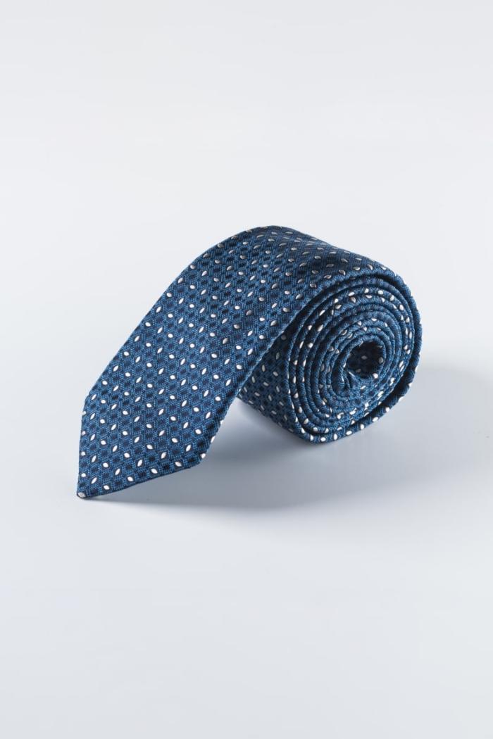 Plava muška kravata od svile s bijelim uzorkom