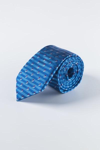 Plava prugasta svilena kravata s točkastim uzorkom
