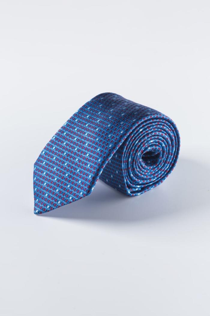 Plava svilena kravata sa strukturom