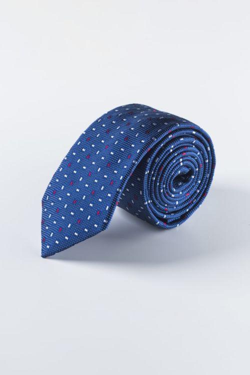 Svilena plava kravata s decentnim uzorkom