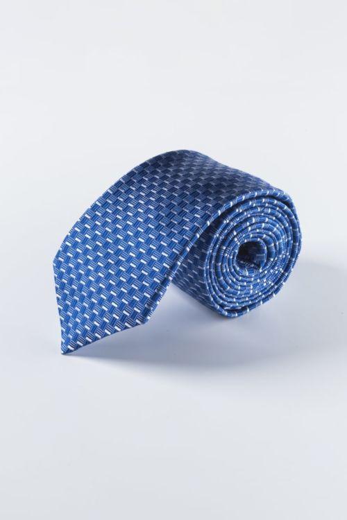 Svilena plava kravata s uzorkom