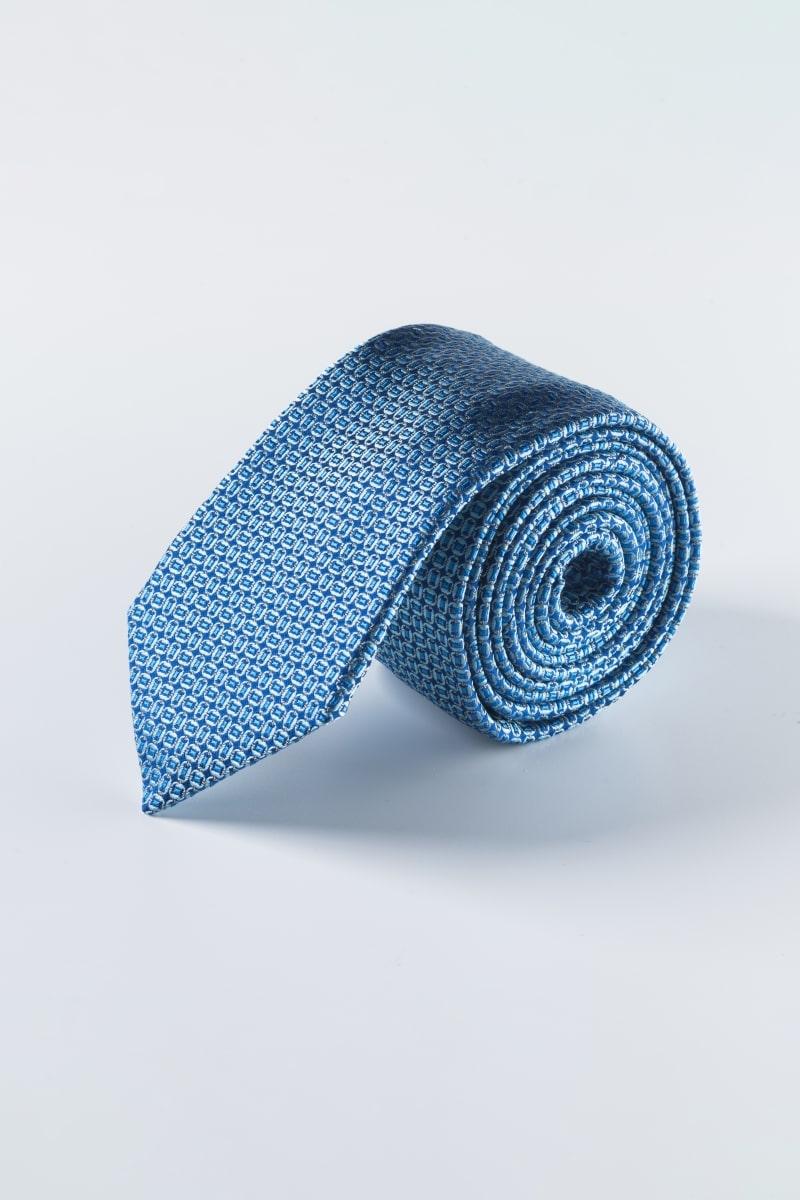 Svilena kravata plave boje s decentnim printom