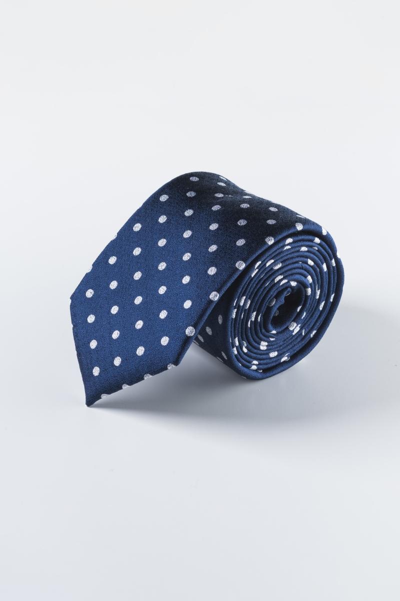 Svilena kravata tamno plave boje s točkama
