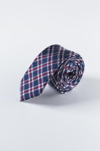 Muška kravata od svile i lana u tri karirana uzorka