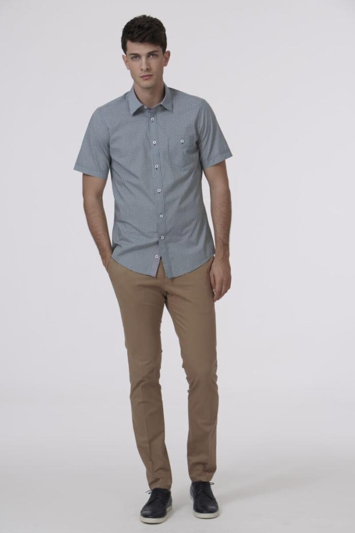 Varteks Plaid men's short-sleeved shirt