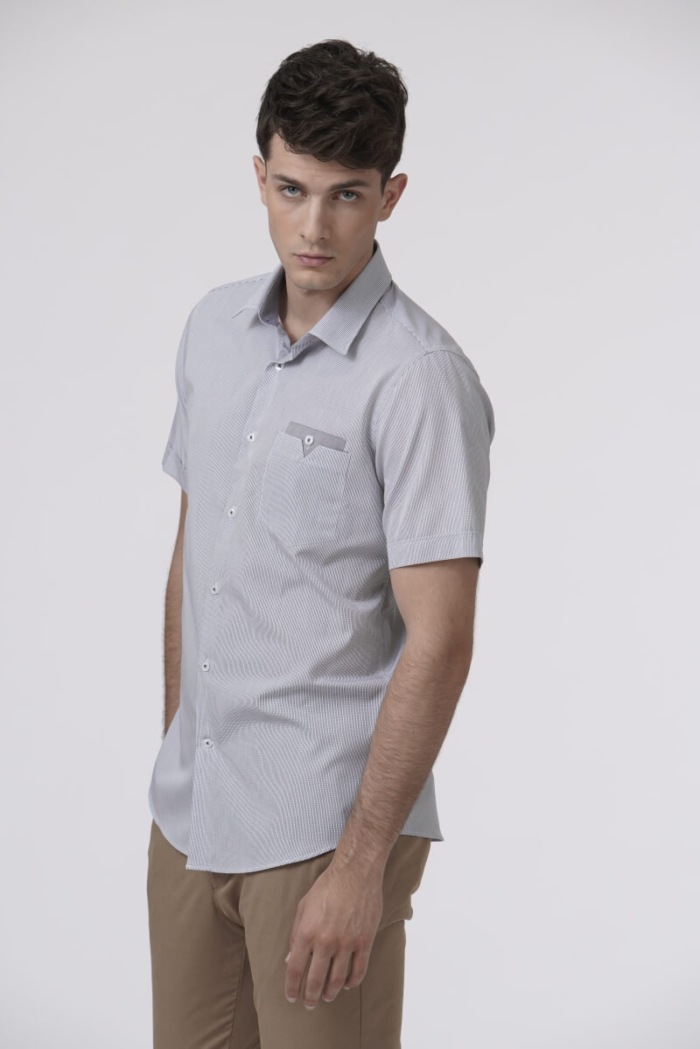 Varteks Short-sleeved shirt with micro plaid pattern