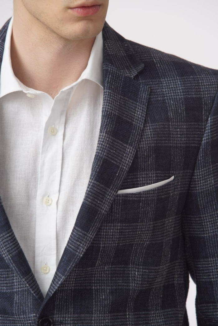 Men's blue plaid jacket with a classic cut