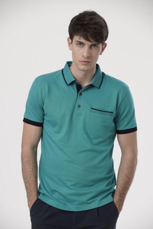 Muška polo majica u dvije boje sa crnim detaljima