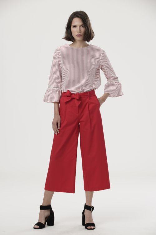 Elegantne Culottes hlače u tamno plavoj i crvenoj boji