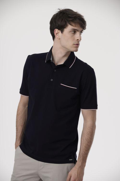 Pamučna polo majica crne boje s bijelim detaljima
