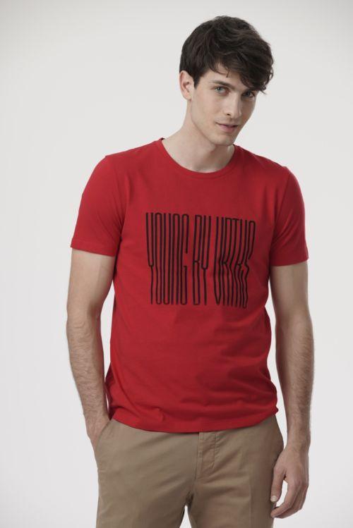 Muška crvena majica kratkih rukava s printom