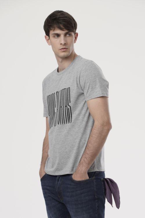Muška siva majica kratkih rukava s printom
