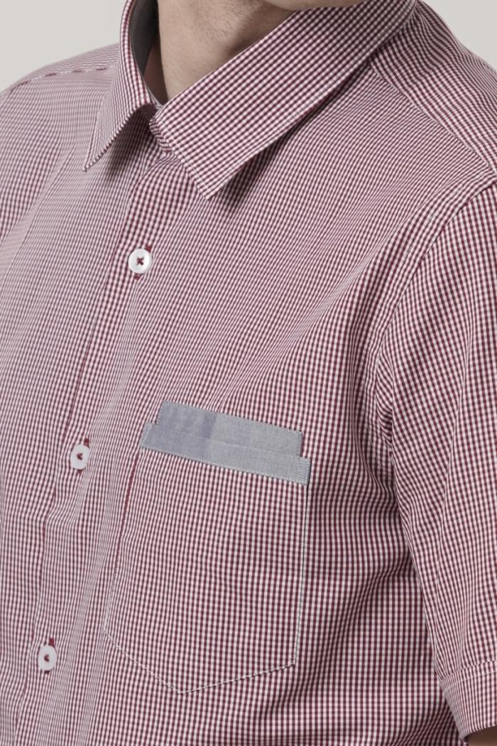 Varteks Men's red plaid short-sleeved shirt