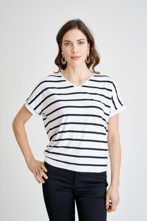 Prugasta ženska majica u dvije boje