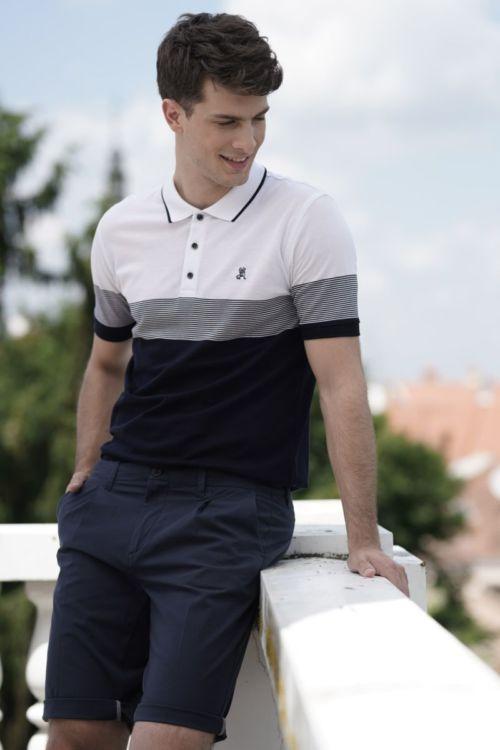 Muška polo majica dvobojna s prugama