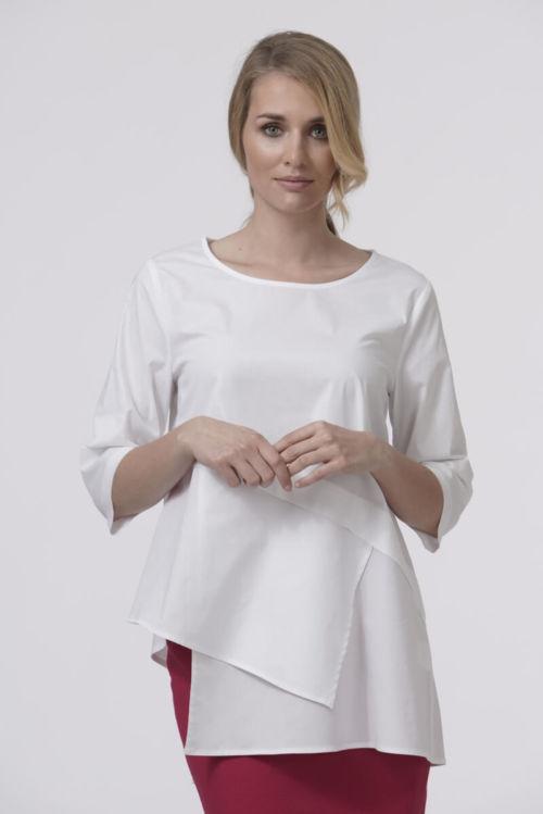 Asimetrična ženstvena bluza u dvije boje