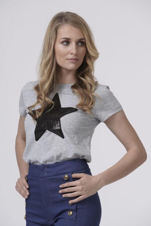 Ženska majica sive boje s uzorkom zvijezde