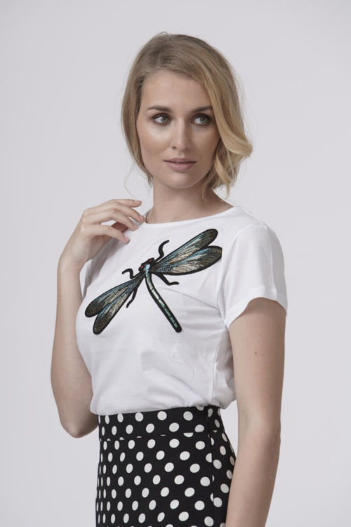 Pamučna ženska majica s uzorkom vilin konjica