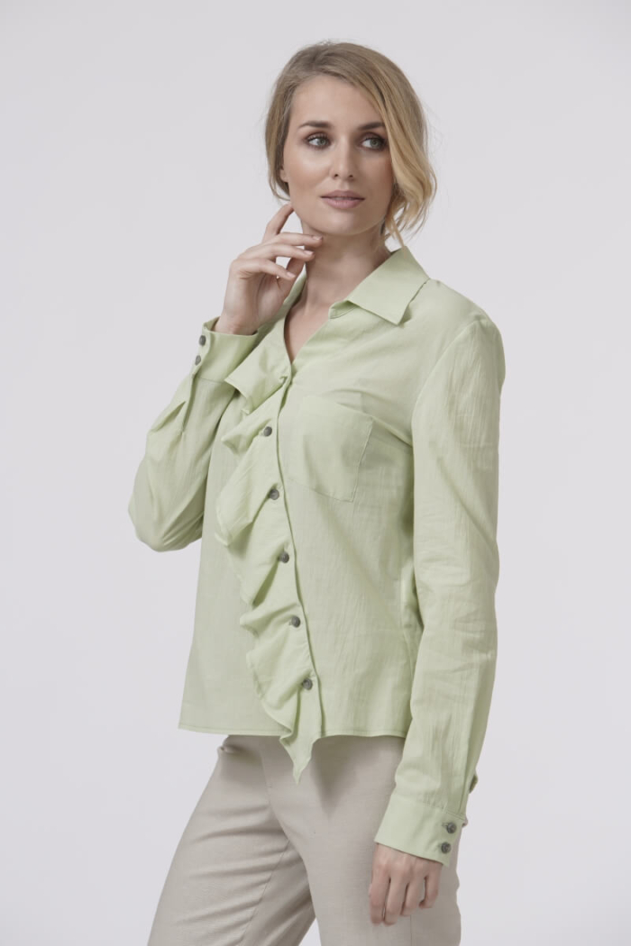 Varteks Feminine blouse with a ruffle in two delicate colors