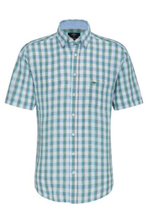 Muška zeleno plava lanena košulja - Fynch Hatton