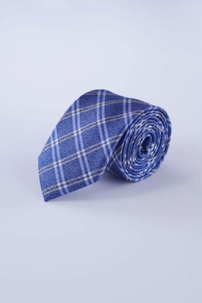 Plava karirana svilena kravata