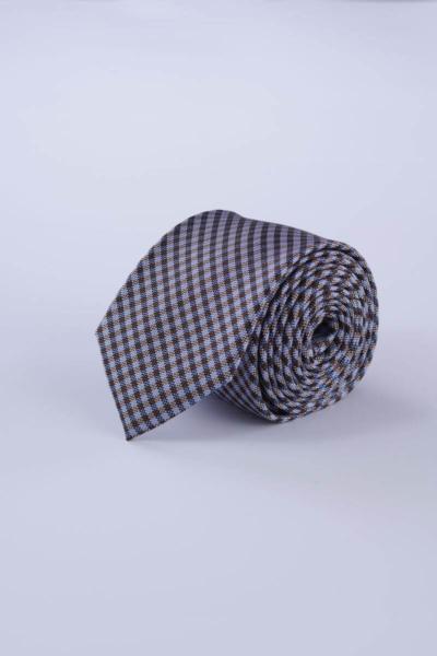 Karirana svilena kravata smeđih tonova