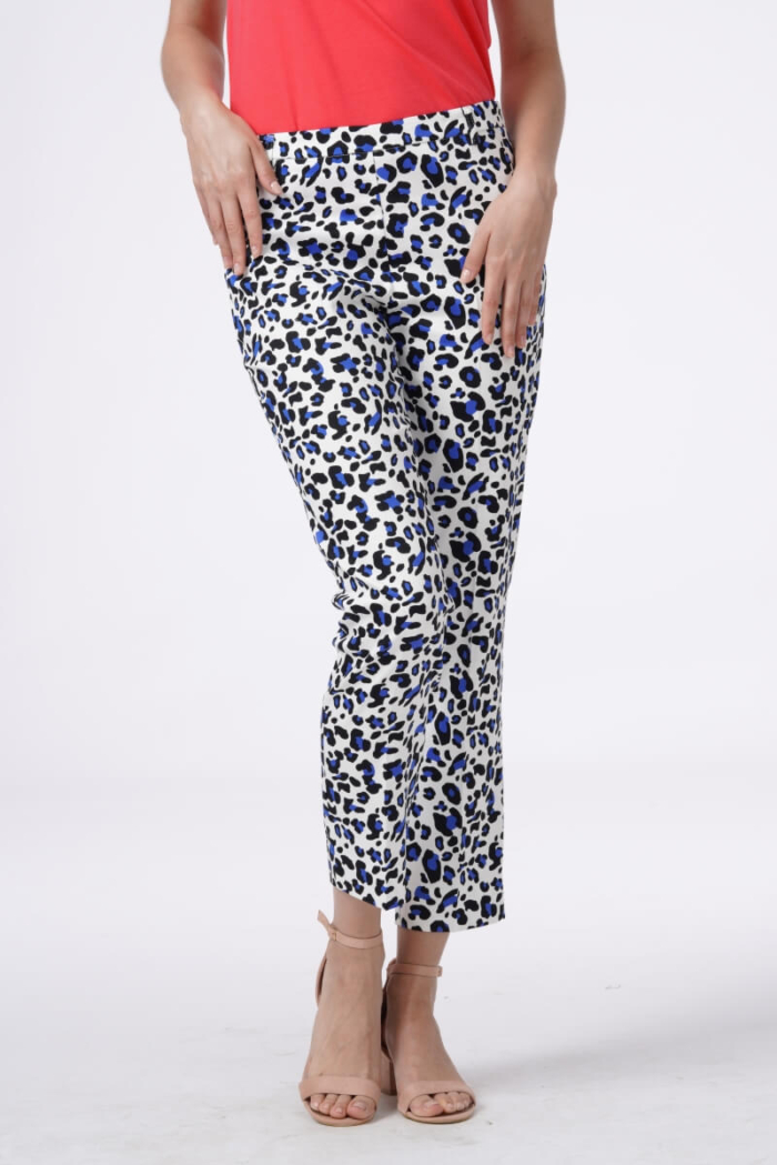 Women's pants with blue leopard print